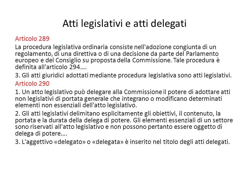 Atti legislativi e atti delegati