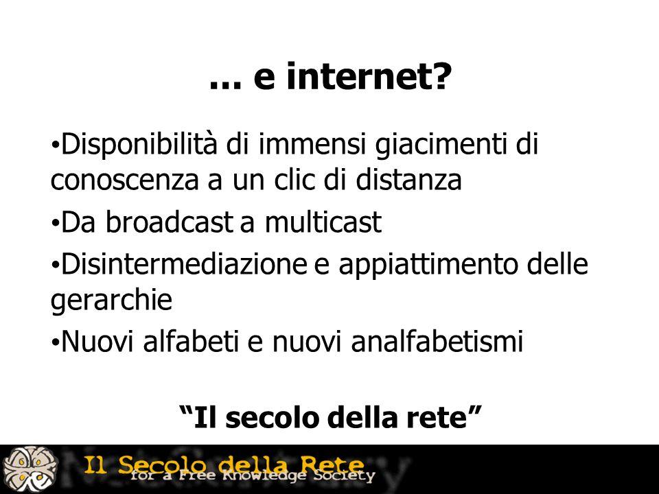 ... e internet Disponibilità di immensi giacimenti di conoscenza a un clic di distanza. Da broadcast a multicast.