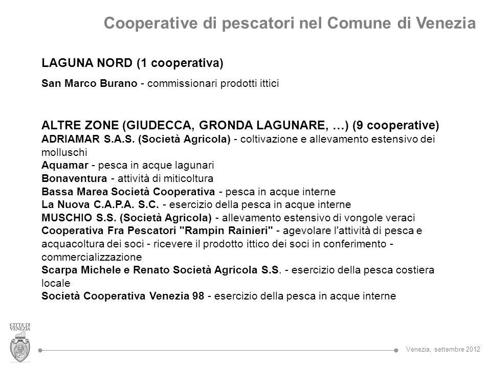 Cooperative di pescatori nel Comune di Venezia