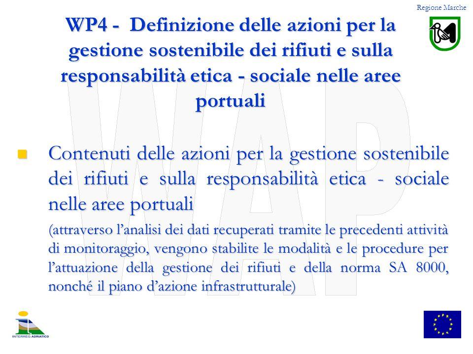 Regione Marche WP4 - Definizione delle azioni per la gestione sostenibile dei rifiuti e sulla responsabilità etica - sociale nelle aree portuali.