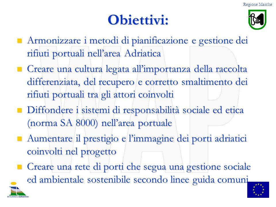 Regione Marche Obiettivi: Armonizzare i metodi di pianificazione e gestione dei rifiuti portuali nell'area Adriatica.