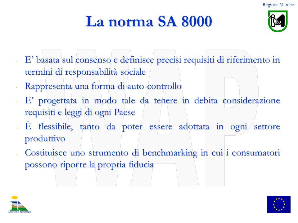Regione Marche La norma SA 8000. E' basata sul consenso e definisce precisi requisiti di riferimento in termini di responsabilità sociale.