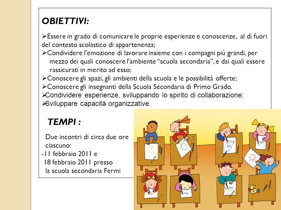 OBIETTIVI: Essere in grado di comunicare le proprie esperienze e conoscenze, al di fuori del contesto scolastico di appartenenza;