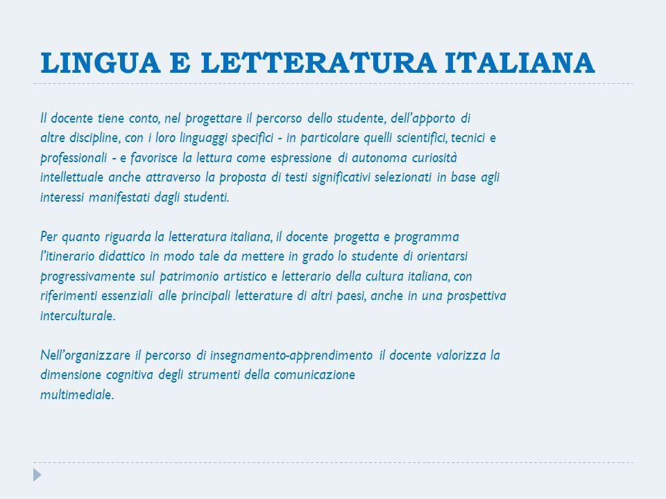 LINGUA E LETTERATURA ITALIANA