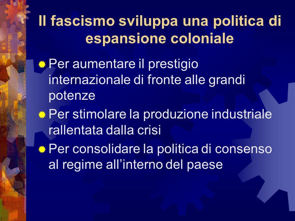 Il fascismo sviluppa una politica di espansione coloniale