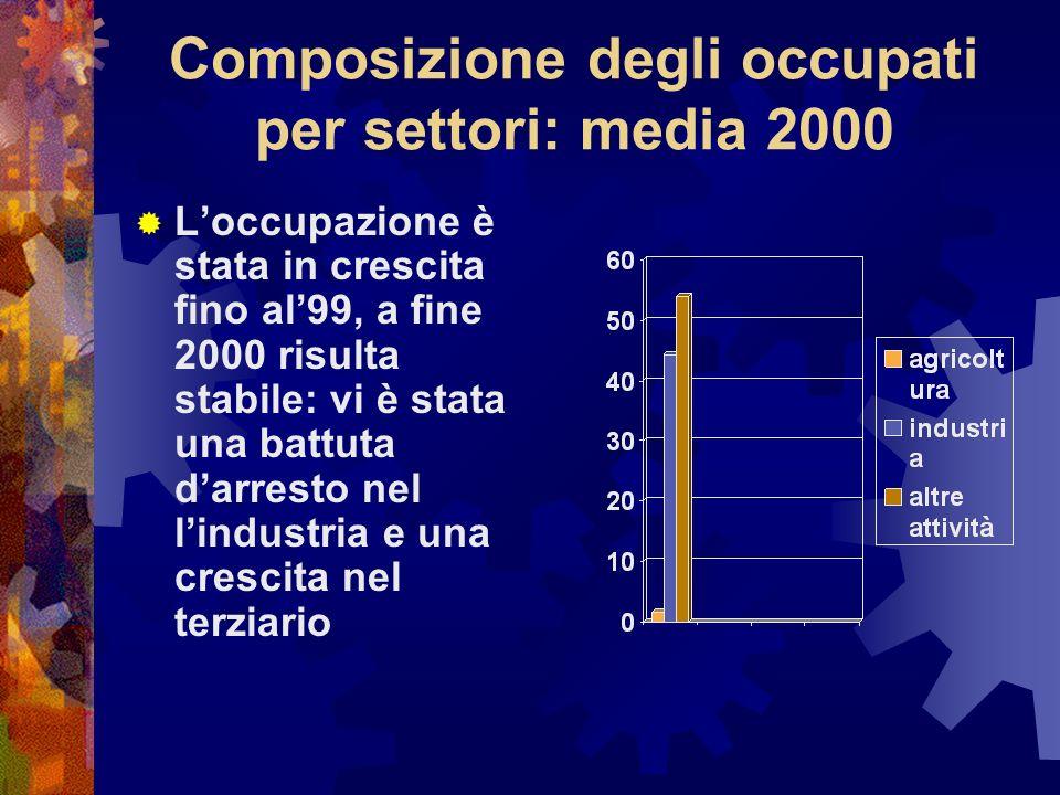 Composizione degli occupati per settori: media 2000