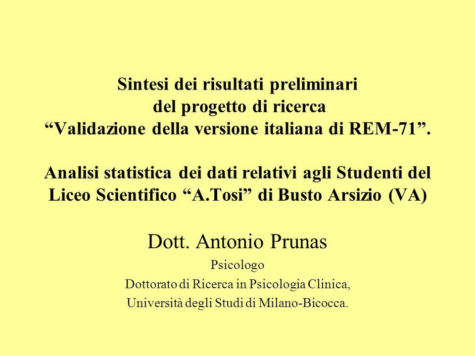 Sintesi dei risultati preliminari del progetto di ricerca Validazione della versione italiana di REM-71 . Analisi statistica dei dati relativi agli Studenti del Liceo Scientifico A.Tosi di Busto Arsizio (VA)