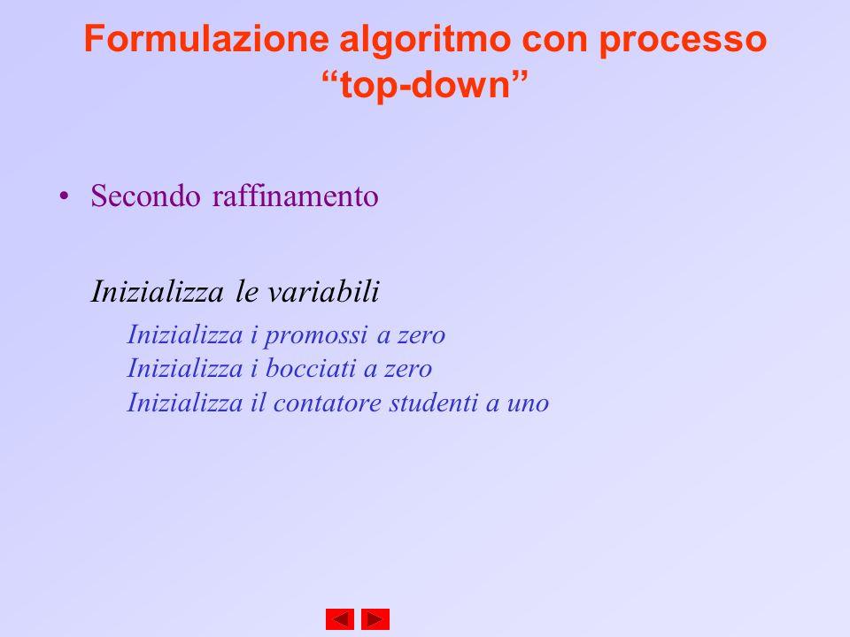 Formulazione algoritmo con processo top-down