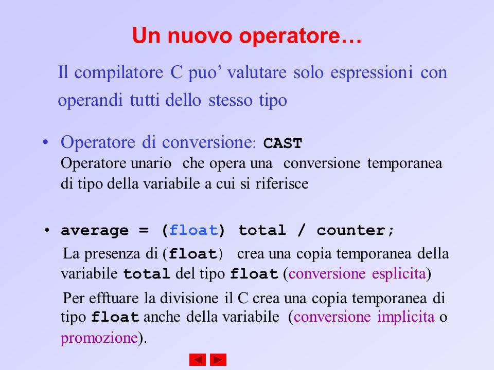Un nuovo operatore… Il compilatore C puo' valutare solo espressioni con. operandi tutti dello stesso tipo.
