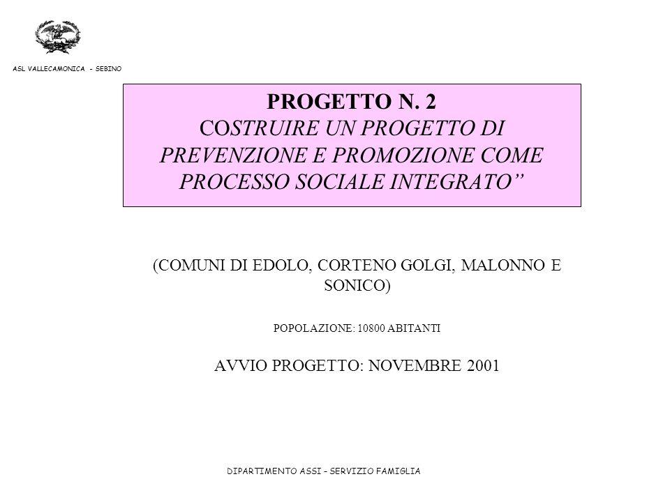 PROGETTO N. 2 COSTRUIRE UN PROGETTO DI PREVENZIONE E PROMOZIONE COME PROCESSO SOCIALE INTEGRATO