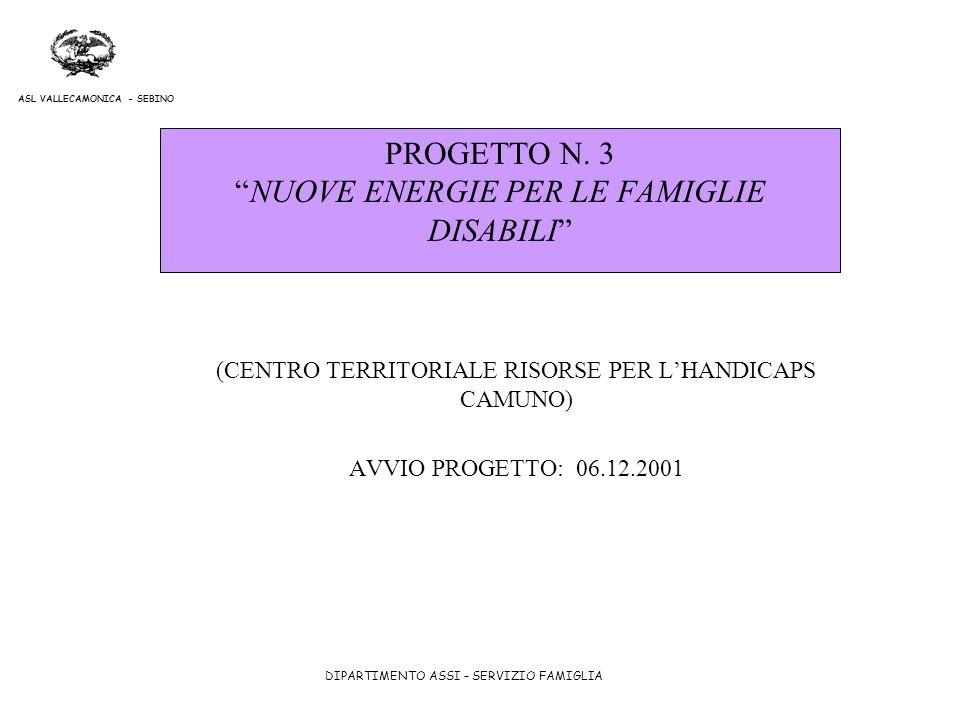 PROGETTO N. 3 NUOVE ENERGIE PER LE FAMIGLIE DISABILI