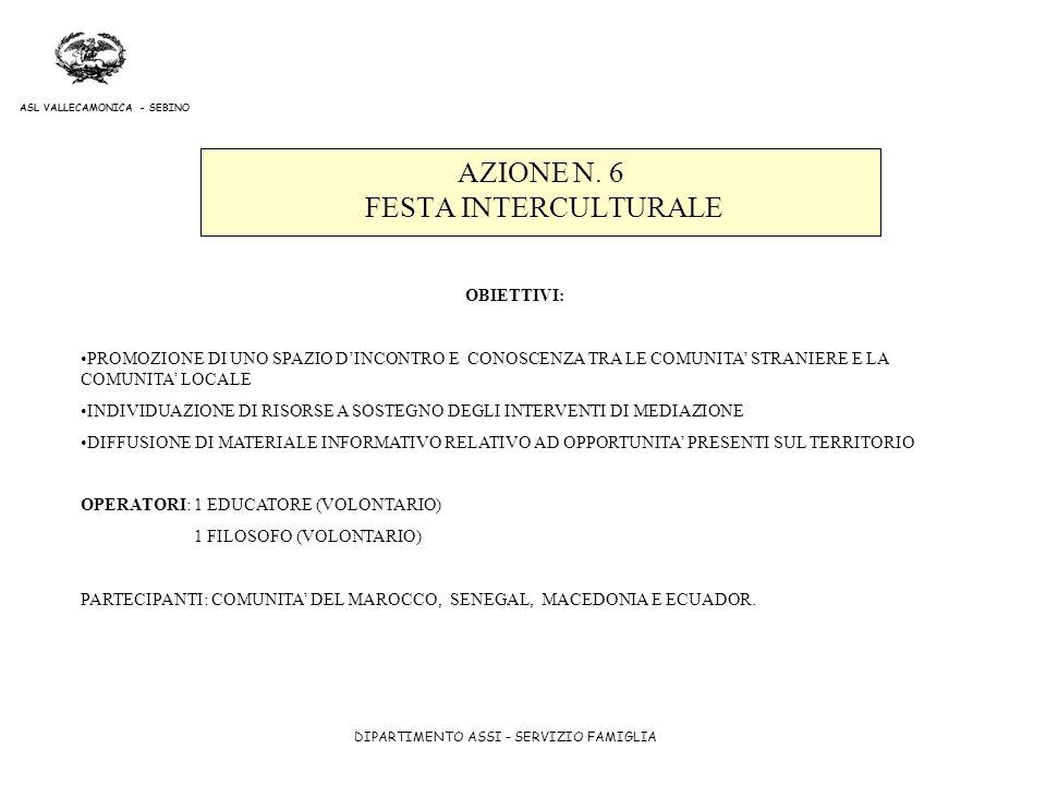 AZIONE N. 6 FESTA INTERCULTURALE