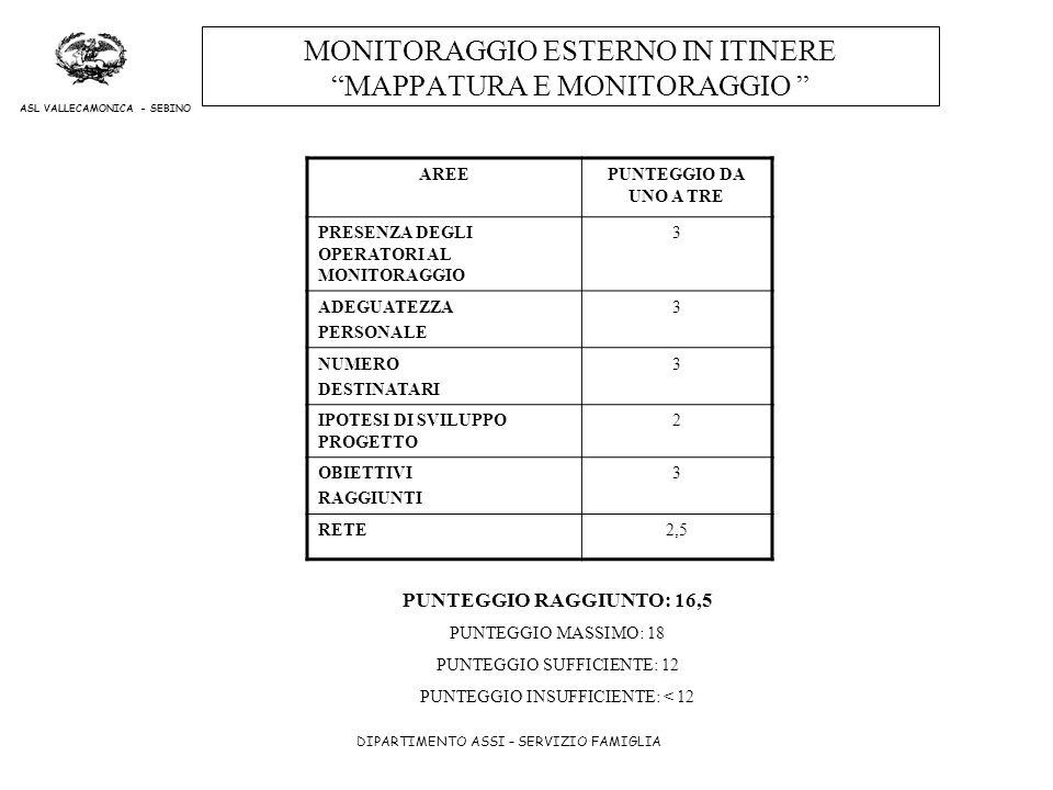 MONITORAGGIO ESTERNO IN ITINERE MAPPATURA E MONITORAGGIO