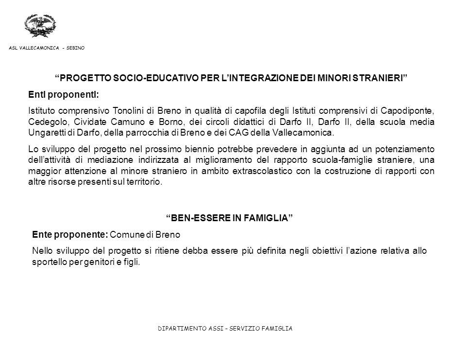 PROGETTO SOCIO-EDUCATIVO PER L'INTEGRAZIONE DEI MINORI STRANIERI