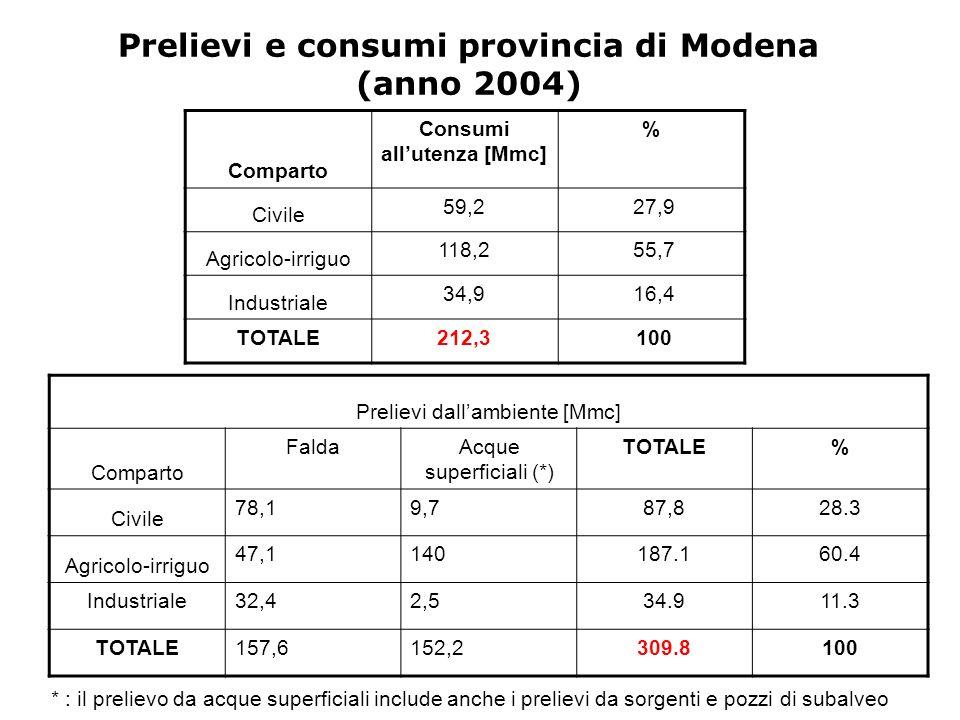 Prelievi e consumi provincia di Modena (anno 2004)