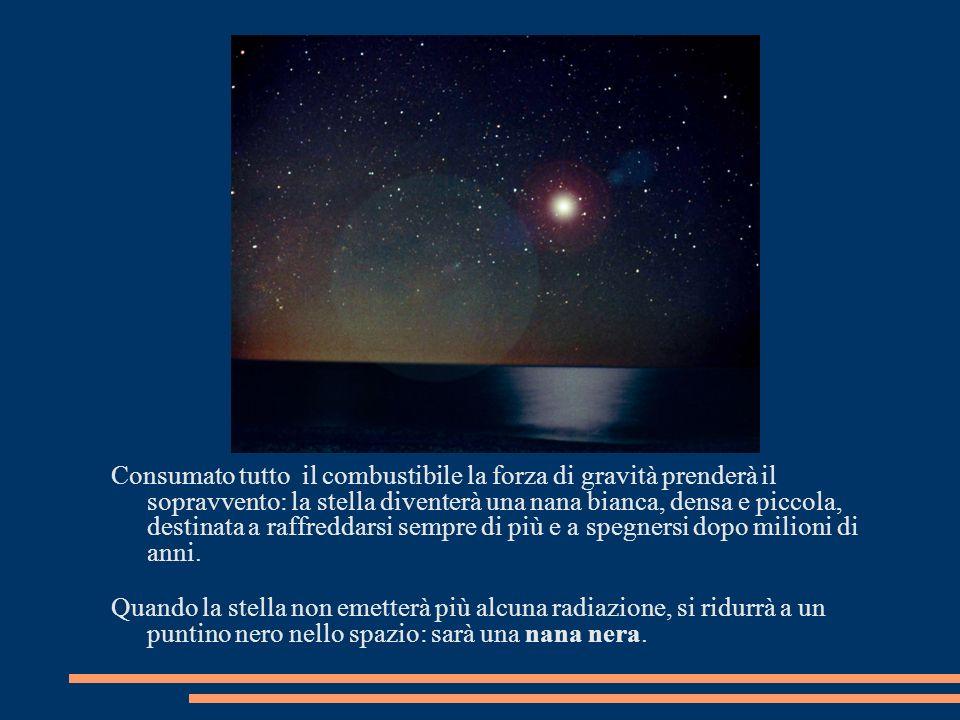 Consumato tutto il combustibile la forza di gravità prenderà il sopravvento: la stella diventerà una nana bianca, densa e piccola, destinata a raffreddarsi sempre di più e a spegnersi dopo milioni di anni.