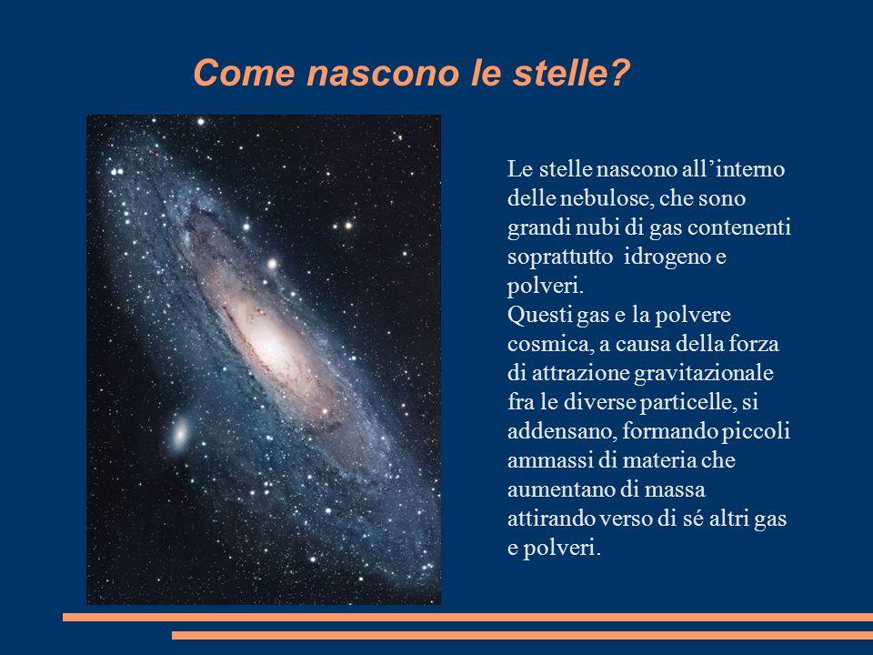 Come nascono le stelle Le stelle nascono all'interno delle nebulose, che sono grandi nubi di gas contenenti soprattutto idrogeno e polveri.