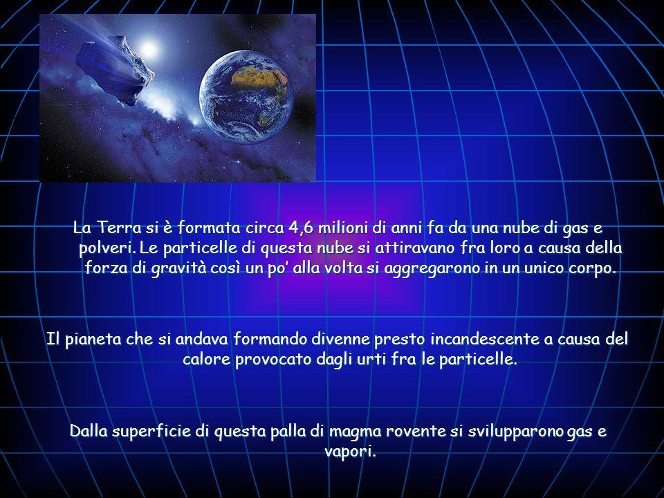 La Terra si è formata circa 4,6 milioni di anni fa da una nube di gas e polveri. Le particelle di questa nube si attiravano fra loro a causa della forza di gravità così un po' alla volta si aggregarono in un unico corpo.