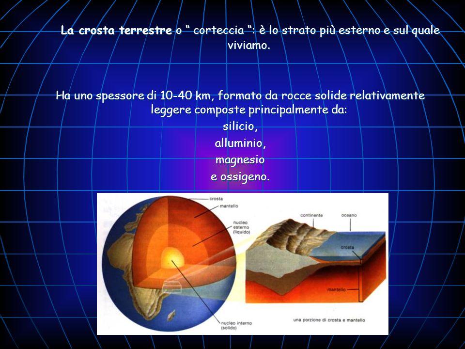 La crosta terrestre o corteccia : è lo strato più esterno e sul quale viviamo.