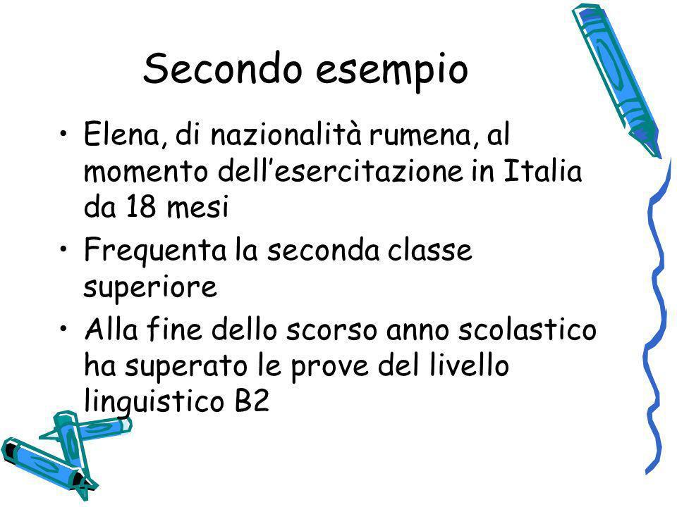 Secondo esempio Elena, di nazionalità rumena, al momento dell'esercitazione in Italia da 18 mesi. Frequenta la seconda classe superiore.