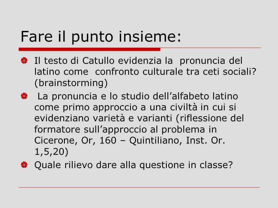 Fare il punto insieme: Il testo di Catullo evidenzia la pronuncia del latino come confronto culturale tra ceti sociali (brainstorming)
