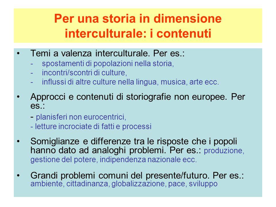 Per una storia in dimensione interculturale: i contenuti