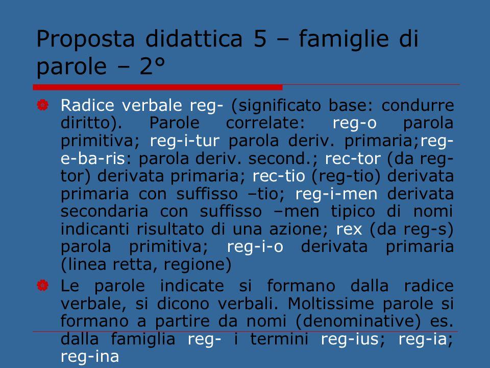 Proposta didattica 5 – famiglie di parole – 2°