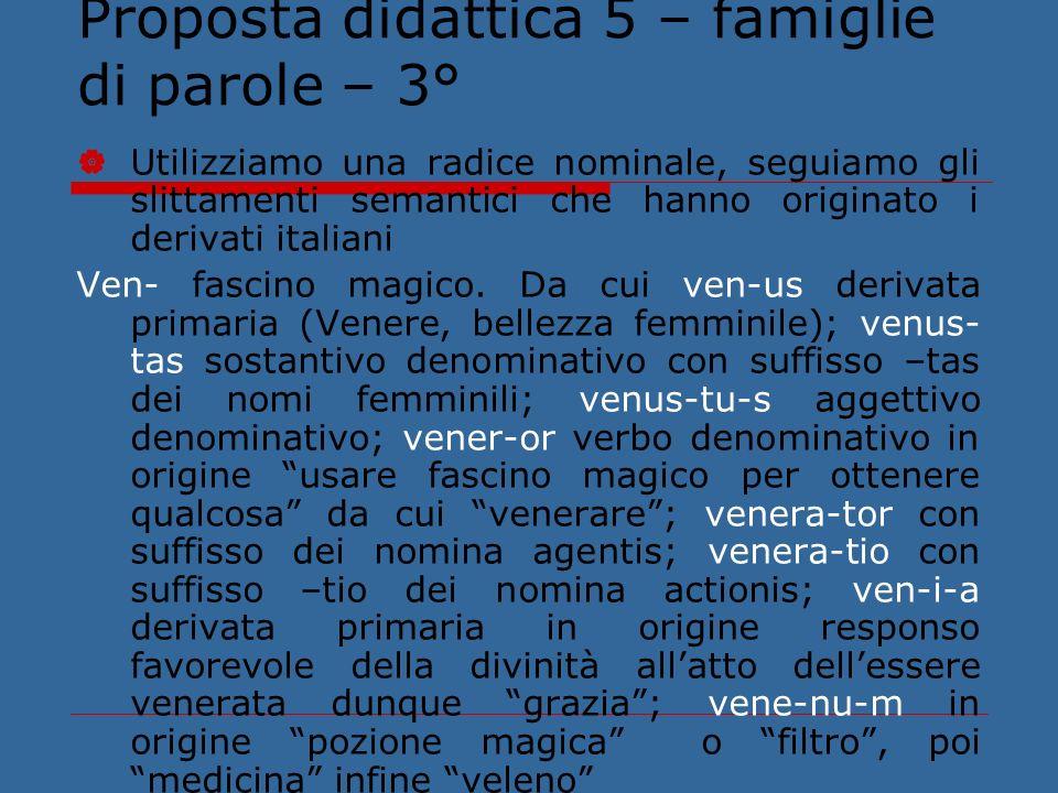 Proposta didattica 5 – famiglie di parole – 3°
