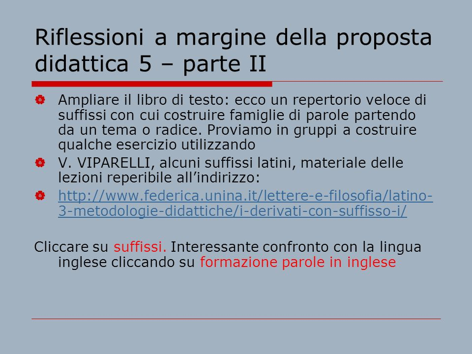 Riflessioni a margine della proposta didattica 5 – parte II