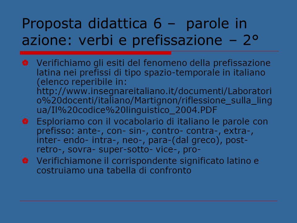 Proposta didattica 6 – parole in azione: verbi e prefissazione – 2°