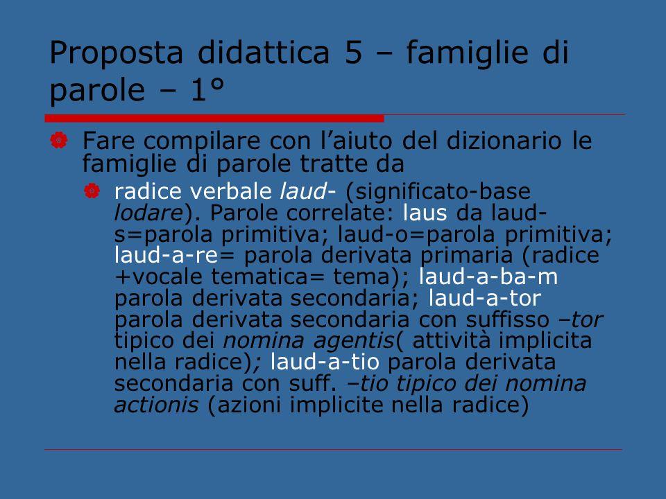Proposta didattica 5 – famiglie di parole – 1°