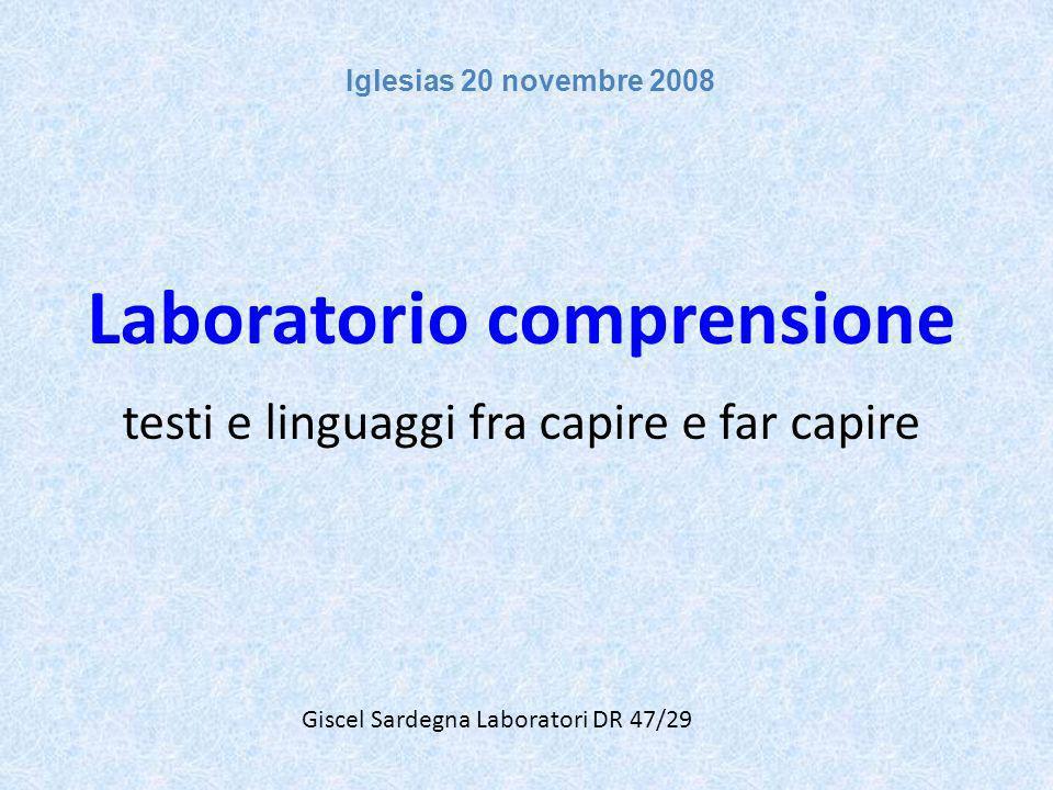 Laboratorio comprensione testi e linguaggi fra capire e far capire
