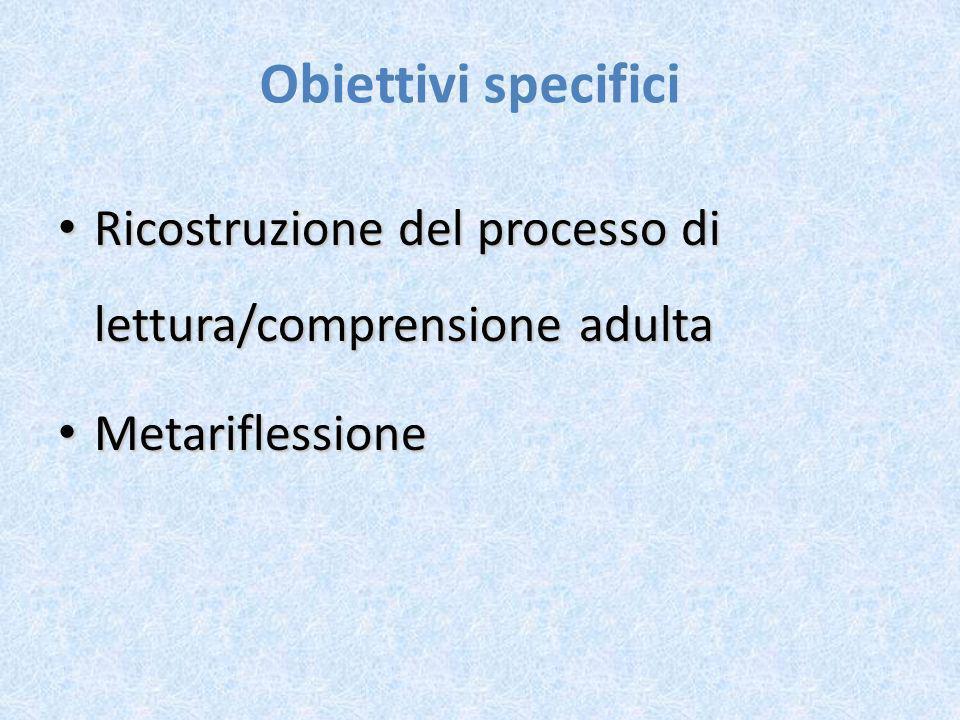 Obiettivi specifici Ricostruzione del processo di lettura/comprensione adulta Metariflessione