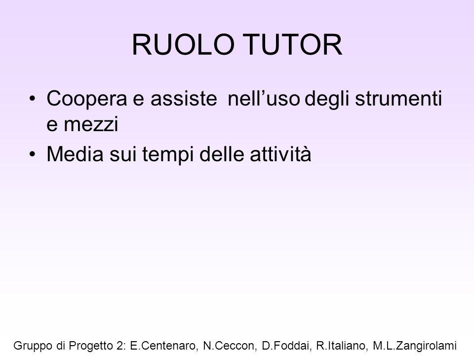 RUOLO TUTOR Coopera e assiste nell'uso degli strumenti e mezzi