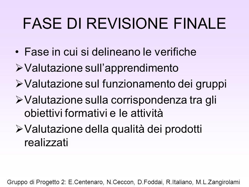 FASE DI REVISIONE FINALE