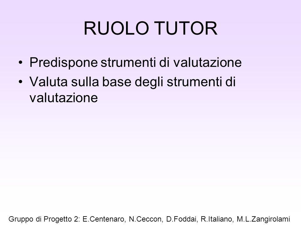 RUOLO TUTOR Predispone strumenti di valutazione