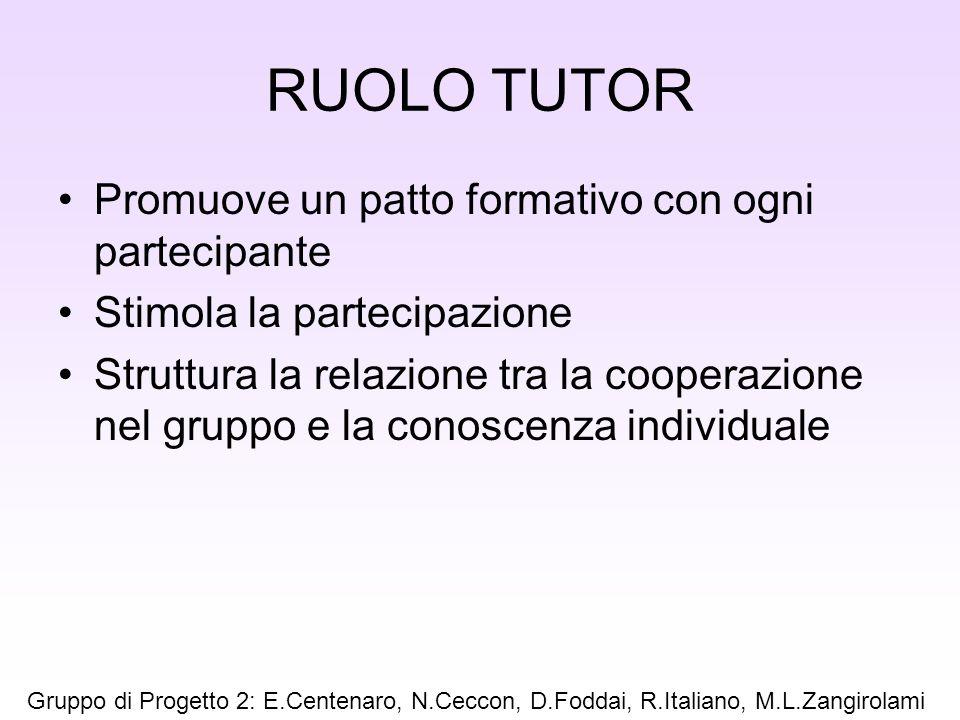 RUOLO TUTOR Promuove un patto formativo con ogni partecipante