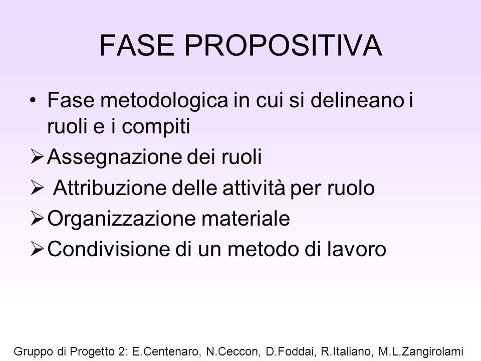 FASE PROPOSITIVA Fase metodologica in cui si delineano i ruoli e i compiti. Assegnazione dei ruoli.