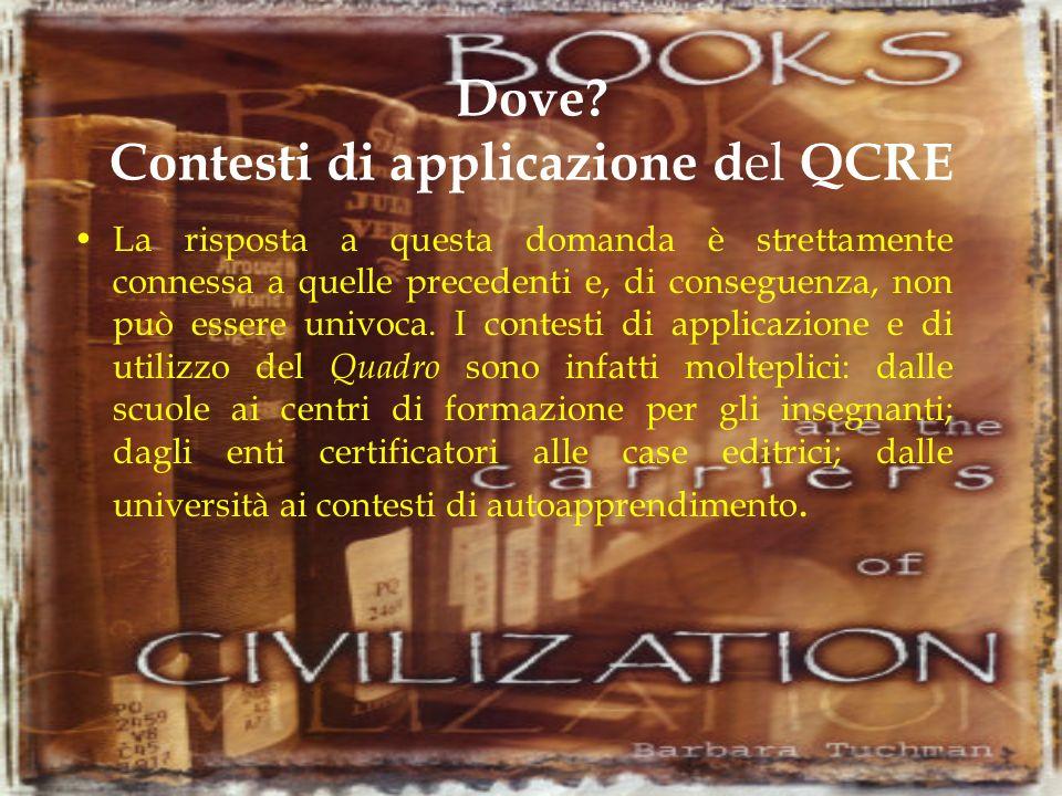 Dove Contesti di applicazione del QCRE