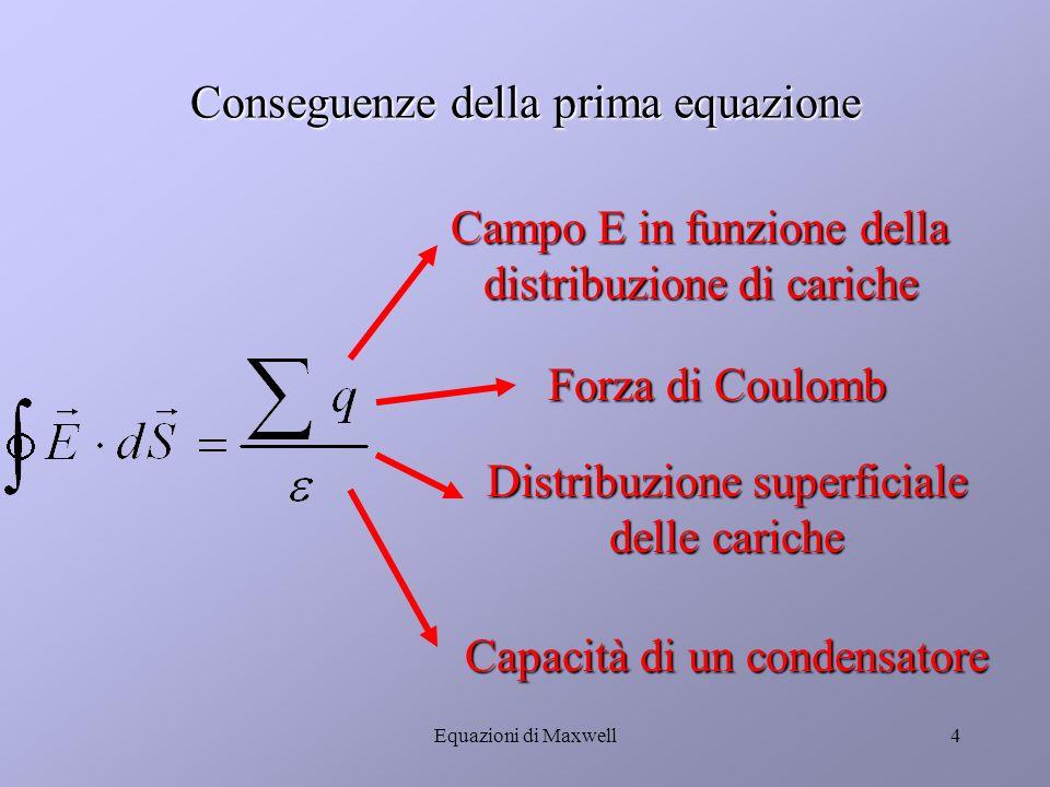 Conseguenze della prima equazione