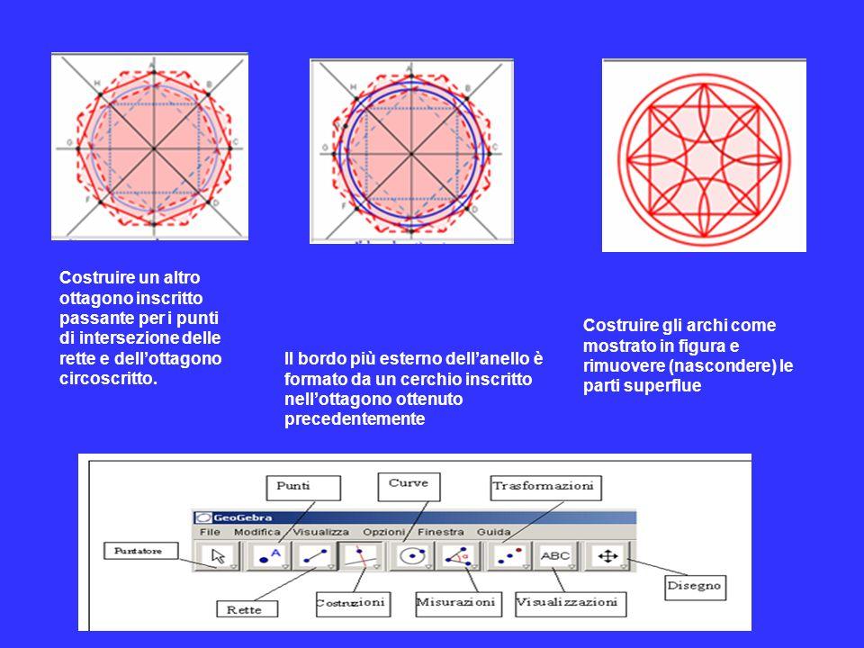 Costruire un altro ottagono inscritto passante per i punti di intersezione delle rette e dell'ottagono circoscritto.