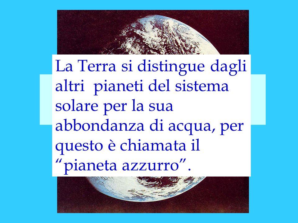 La Terra si distingue dagli altri pianeti del sistema solare per la sua abbondanza di acqua, per questo è chiamata il pianeta azzurro .