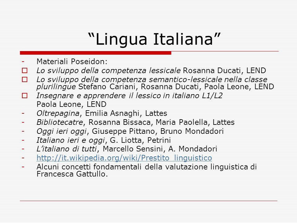 Lingua Italiana Materiali Poseidon:
