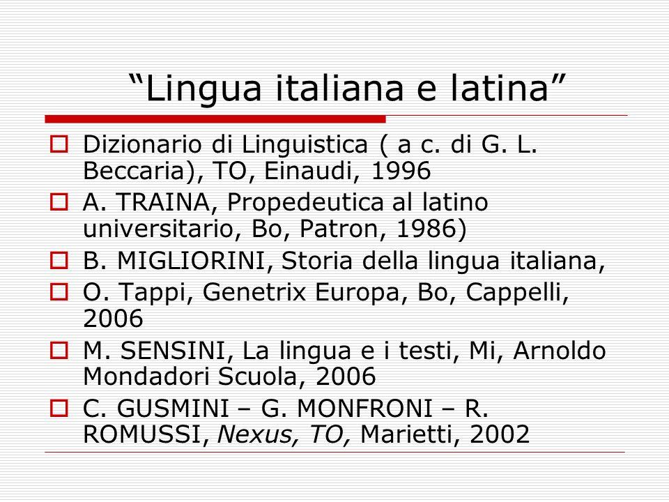 Lingua italiana e latina