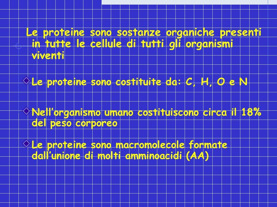 Le proteine sono sostanze organiche presenti in tutte le cellule di tutti gli organismi viventi