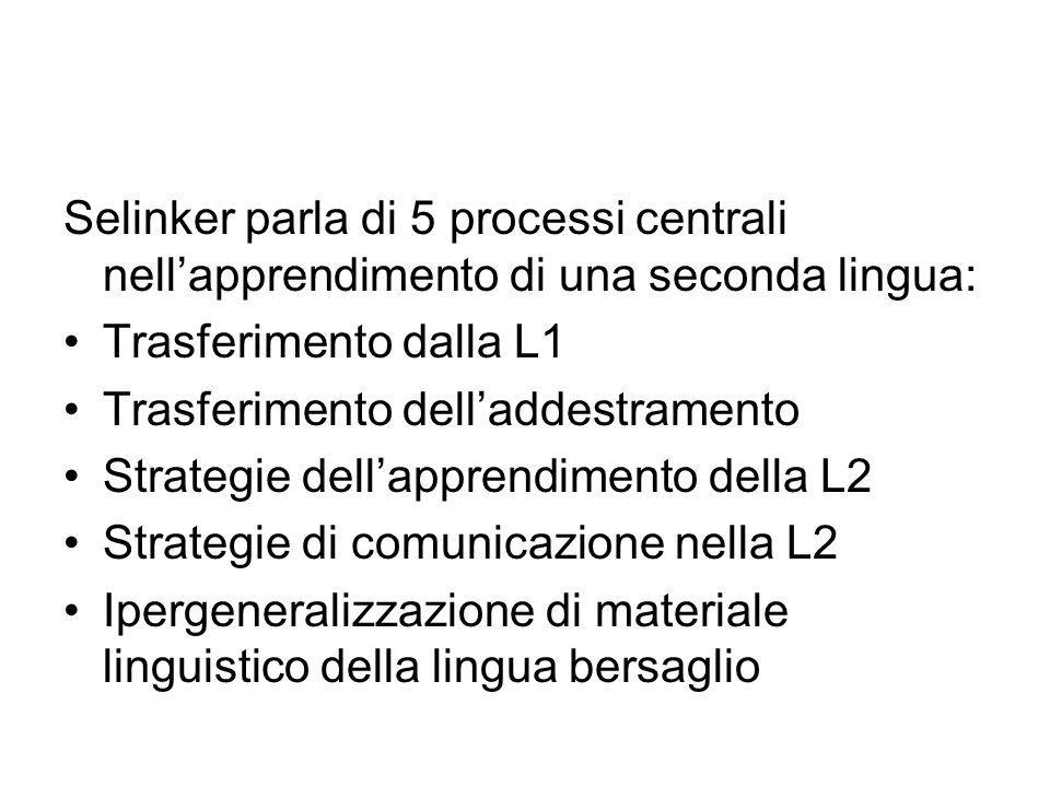 Selinker parla di 5 processi centrali nell'apprendimento di una seconda lingua: