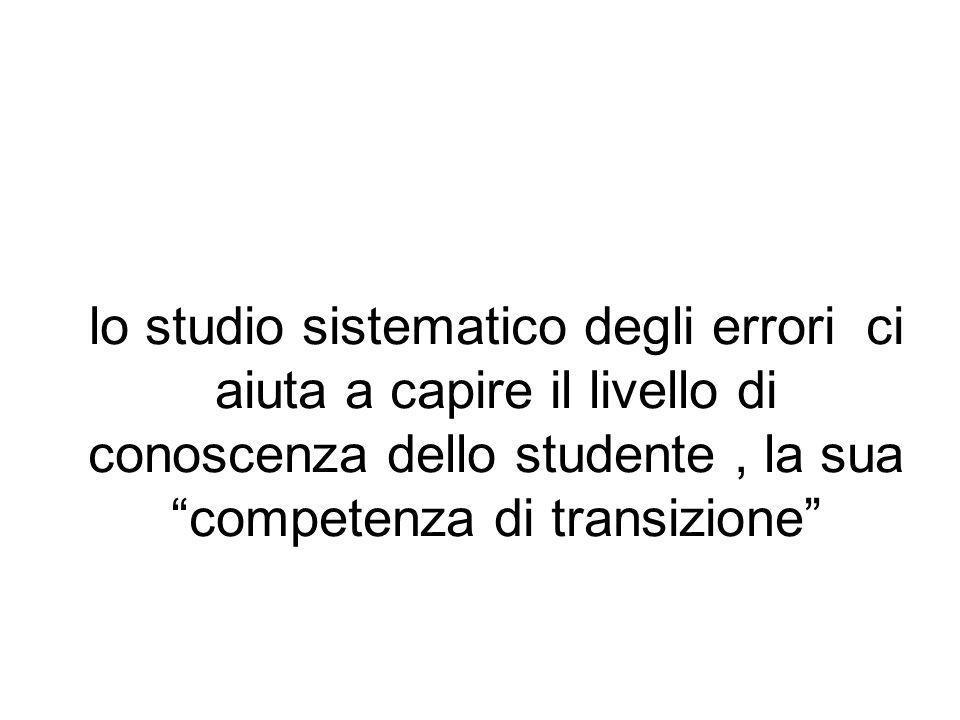 lo studio sistematico degli errori ci aiuta a capire il livello di conoscenza dello studente , la sua competenza di transizione