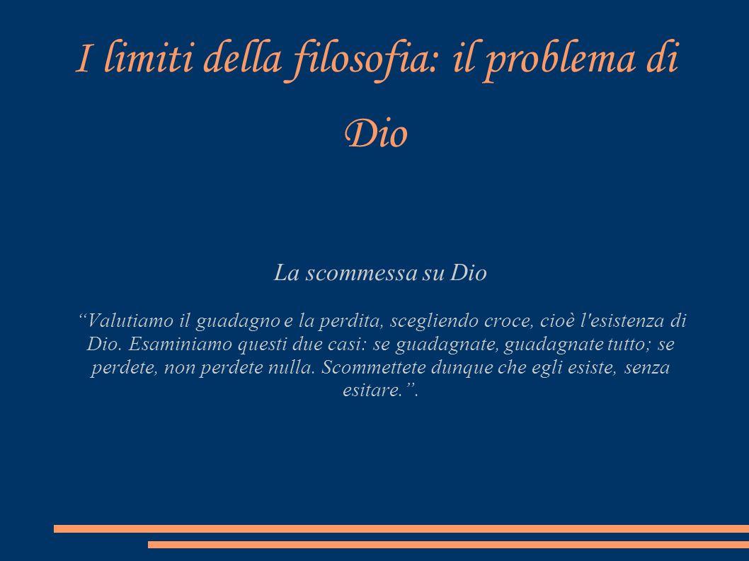 I limiti della filosofia: il problema di Dio