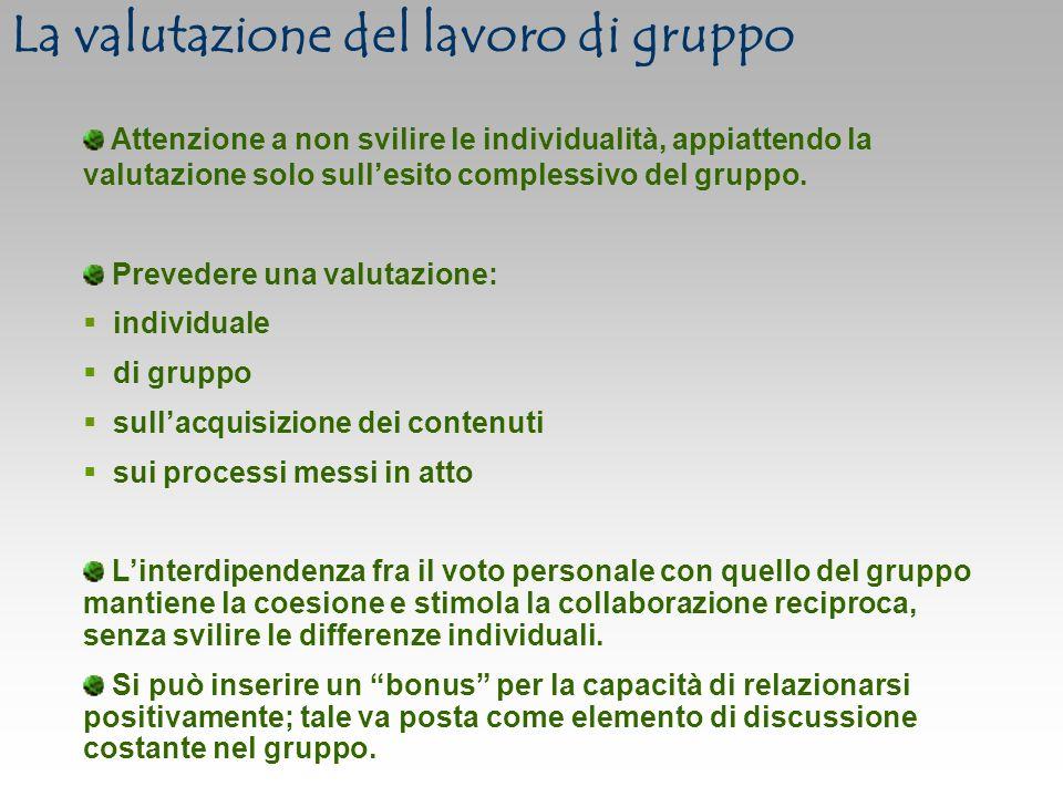La valutazione del lavoro di gruppo