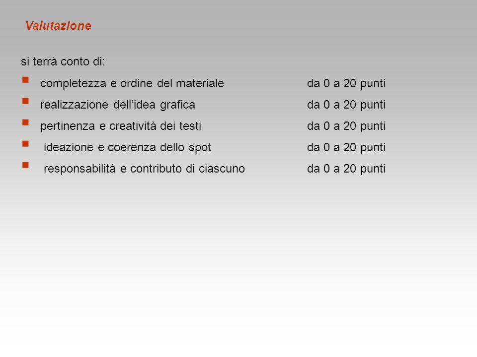 Valutazione si terrà conto di: completezza e ordine del materiale da 0 a 20 punti. realizzazione dell'idea grafica da 0 a 20 punti.